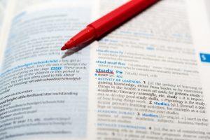 辞書と赤ペン